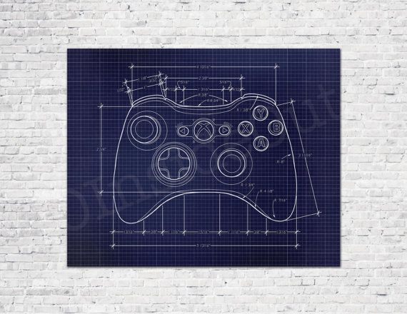 Video Game Controller Blueprint Game Poster - Gamer Wall Decor ... on nes pinouts, nes controller dimensions, playstation 3 connections diagram, nes four score, nes controller schematic, nes controller disassembly, xbox 360 controller diagram, nes controller cable, nes controller circuit, nes joystick, joystick connection diagram, nes to usb, ps3 diagram, nes controller plug,