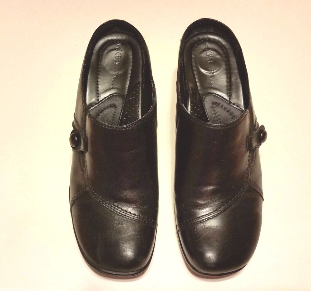 Michel M Black Mules  8M  Leather #MichelM #LoafersMoccasins #Casual