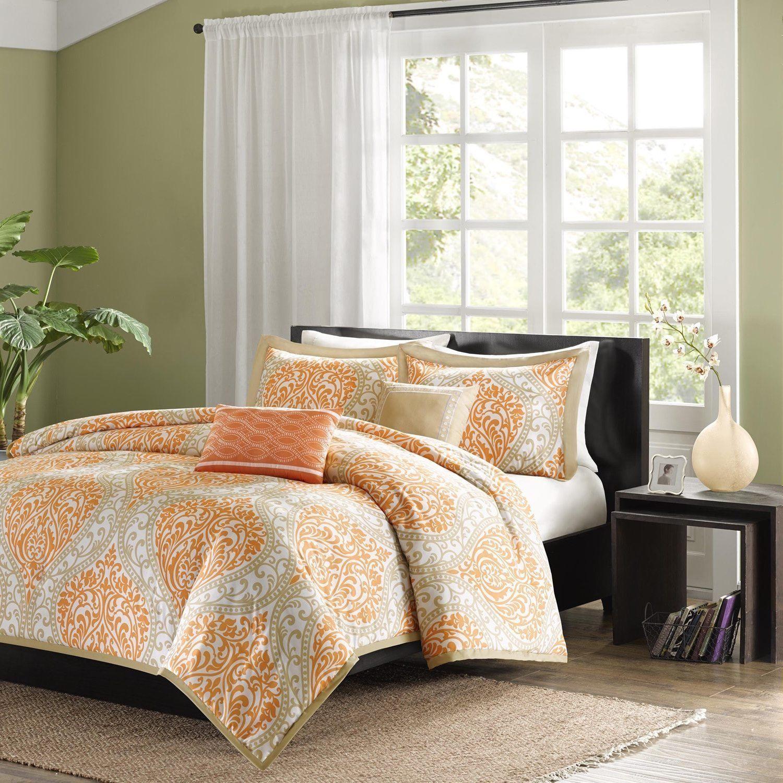 Tangerine Orange Grey Damask Floral Duvet Cover Full Queen Set