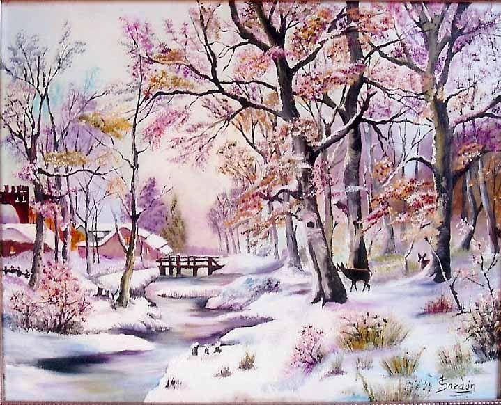 pintura al oleo paisaje nevado | **Pintura al Oleo Y otras