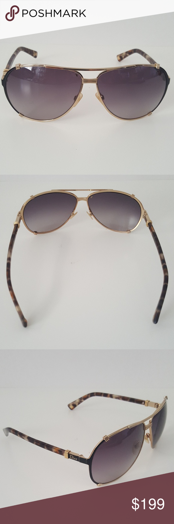 3fe56365714c Christian Dior Chicago 2 Aviator Sunglasses Dior Women s Chicago 2 XMGHA Aviator  Sunglasses in Gold Black Brown Tortoise with Gradient Lenses. 63mm.