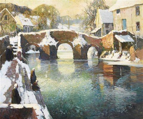 George Ames Aldrich 1872 1941americain Le Pont Fleuri Quimperle