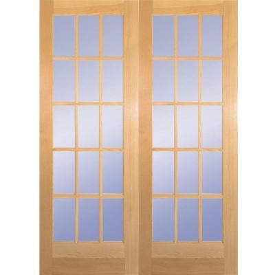 Builders Choice 60 In X 80 In 15 Lite Clear Wood Pine Prehung Interior French Door Hdcp151550 French Doors Exterior French Doors Interior Prehung Interior French Doors