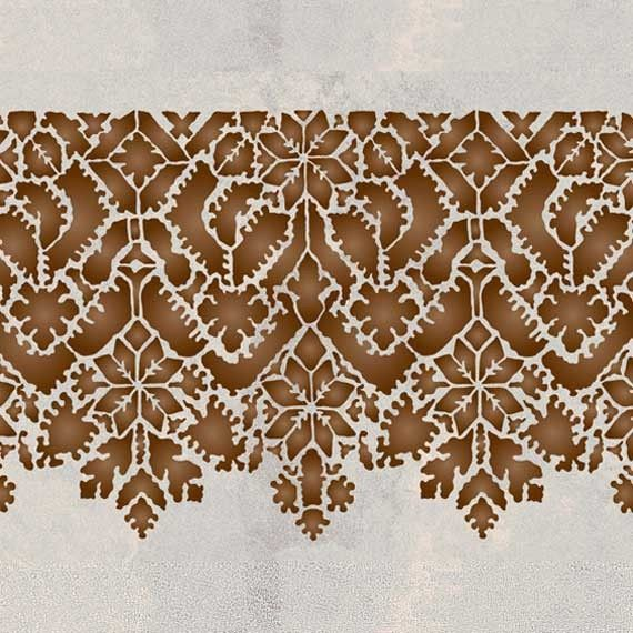 Use this large-scale, Moroccan Lace Stencilborderalone on painted furniture or feature walls. Mix and matchwith our otherMoroccan border stencils for stenci