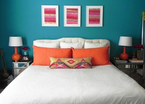 Bedroom Paint Ideas Teal Toward Queen Size Foam Mattress Below Burnt Orange Pillow Covers Alongside Bedside
