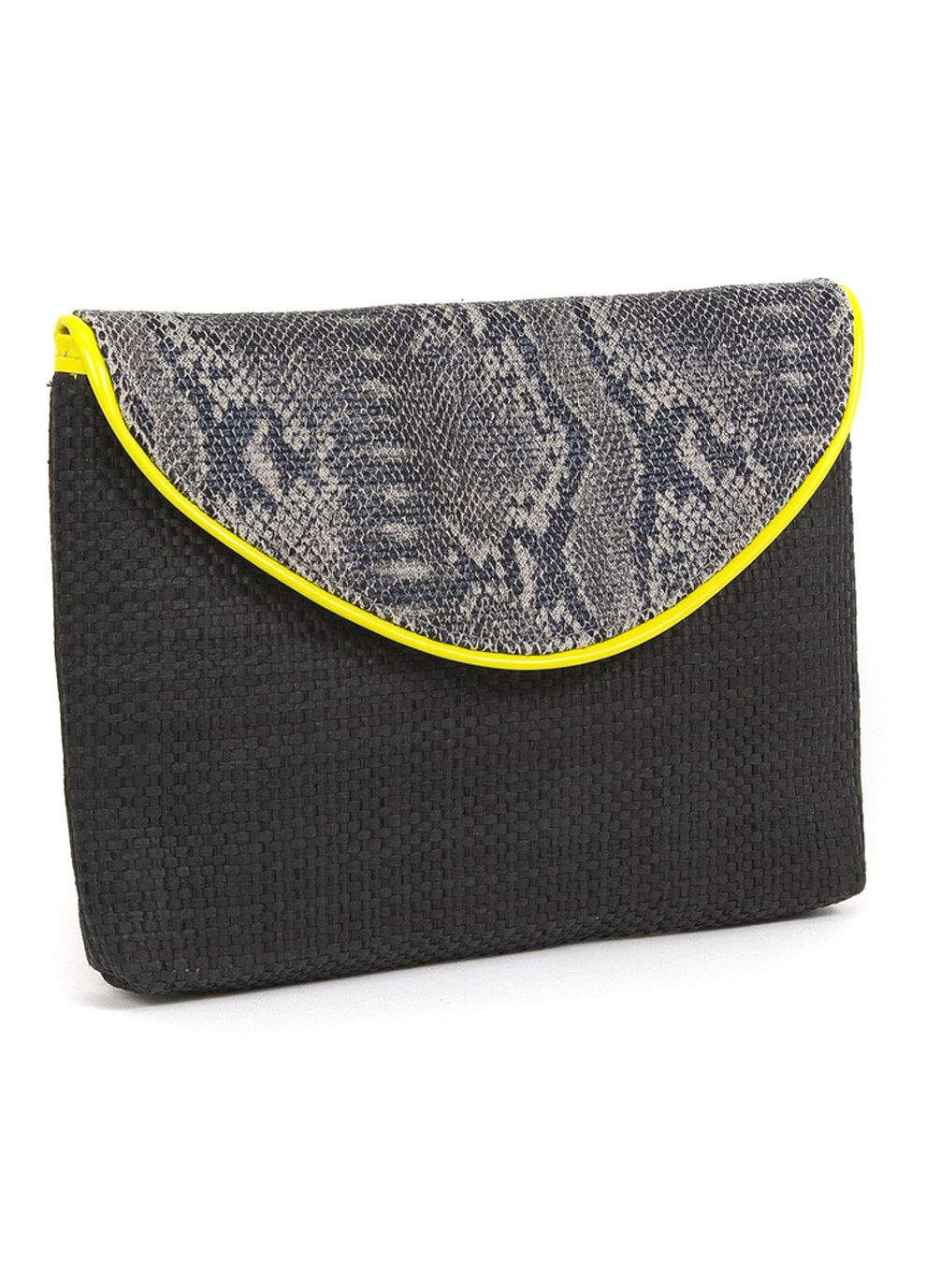 Trendy Bags by Magid - Paper Straw   Faux Snake Skin Canvas Clutch -Black Yellow 2dec477b4f