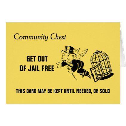 Vintage Monopoly Get Out Of Jail Card Zazzle Com Jail Postcard Custom Monopoly
