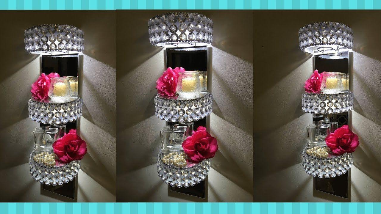 Diy glam lighted display wall shelves i dollar tree diy
