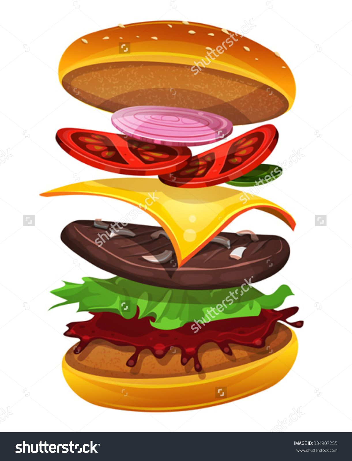 spatial diagram of fast food baseboard heater wiring 240v stock vector burger with ingredients layers