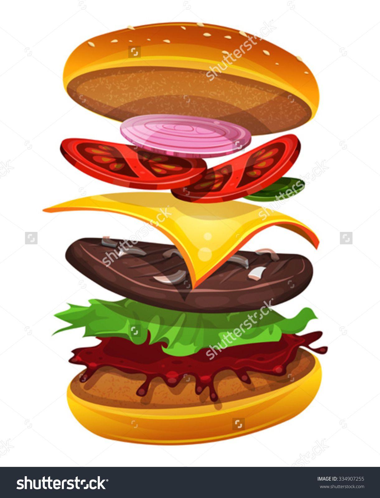 stockvectorfastfoodburgerwithingredientslayers