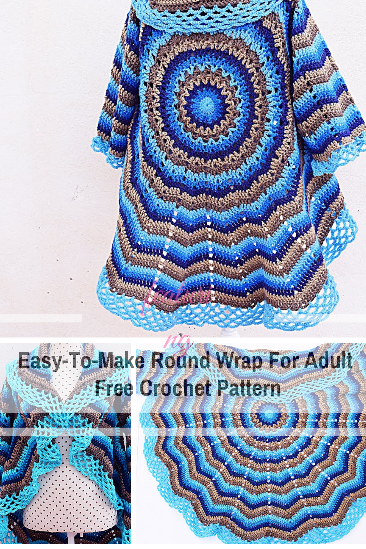Stunning And Free Crochet Circular Shawl Pattern is part of Crochet shawl pattern free, Crochet, Crochet shawl, Crochet circle jacket, Sweater crochet pattern, Shawl knitting patterns - This free circular shawl pattern is magnificent! The combination of blue and brown in a stunning design gives more appeal to this round wrap