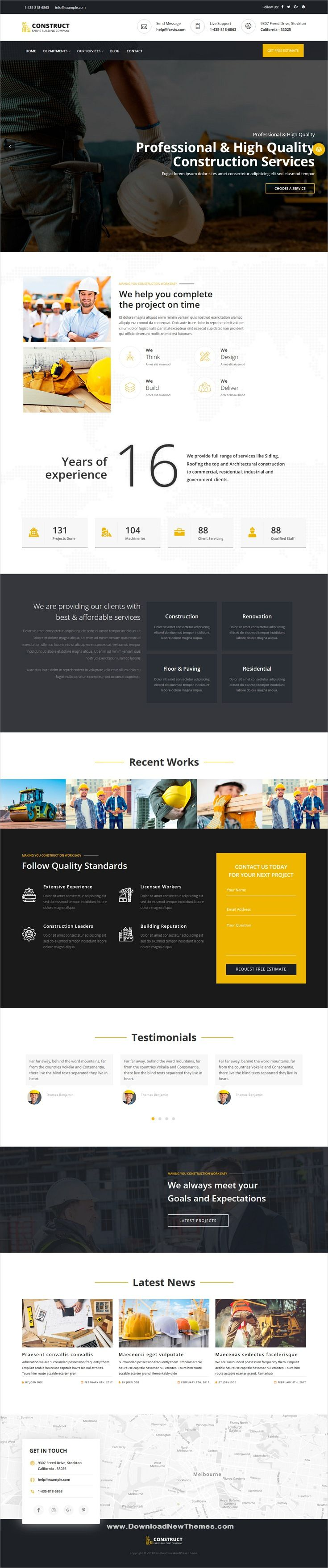 Farvis Is A Clean And Modern Design Responsive Multipurpose Wordpress Template For Creative Constru Wordpress Theme Wordpress Theme Free Responsive Wordpress
