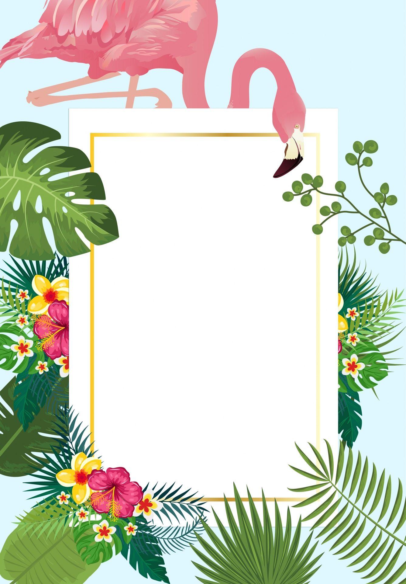 Flamingo Tropical Invitation Card Convite festa havaiana