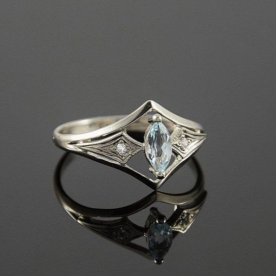 14k solid white gold art deco sky topaz promise ring for her, Unique dainty antique style womens engagement ring, Vintage style promise ring