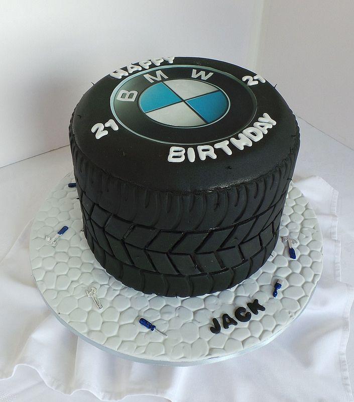 21st bmw tyre themed birthday cake torten 18 geburtstag. Black Bedroom Furniture Sets. Home Design Ideas