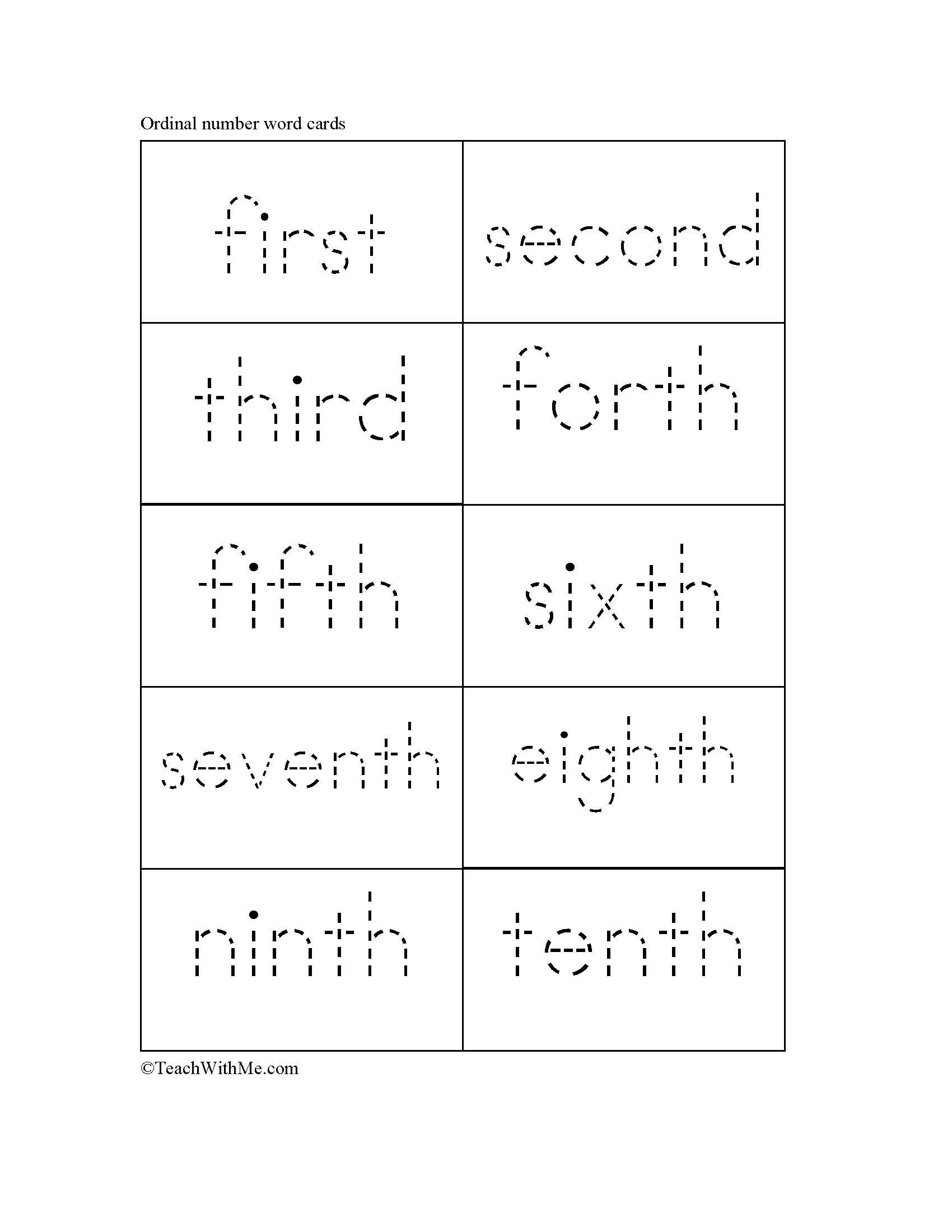Teaching Ordinal Numbers Part Ii