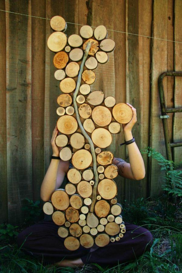 Wanddekoration selber machen - puristische Skulpturen aus Naturholz #holzscheibendeko