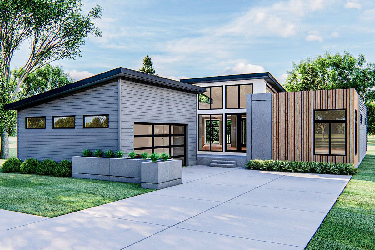 Plan 62535dj Contemporary Home With Lots Of Glass In 2021 Contemporary House Contemporary House Plans Modern Style House Plans
