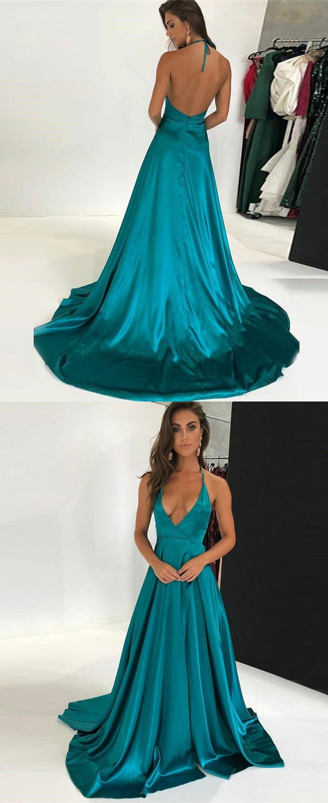 Aline halter backless sweep train turquoise prom dress in
