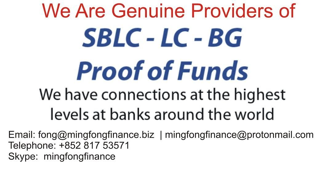 We are genuine providers of BG, SBLC, DLC and Letters of