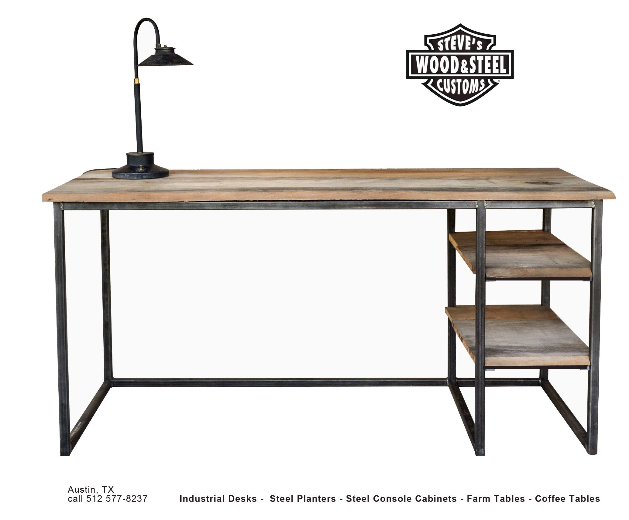 Buy A Custom Made Industrial Reclaimed Wood Desk Made To Order
