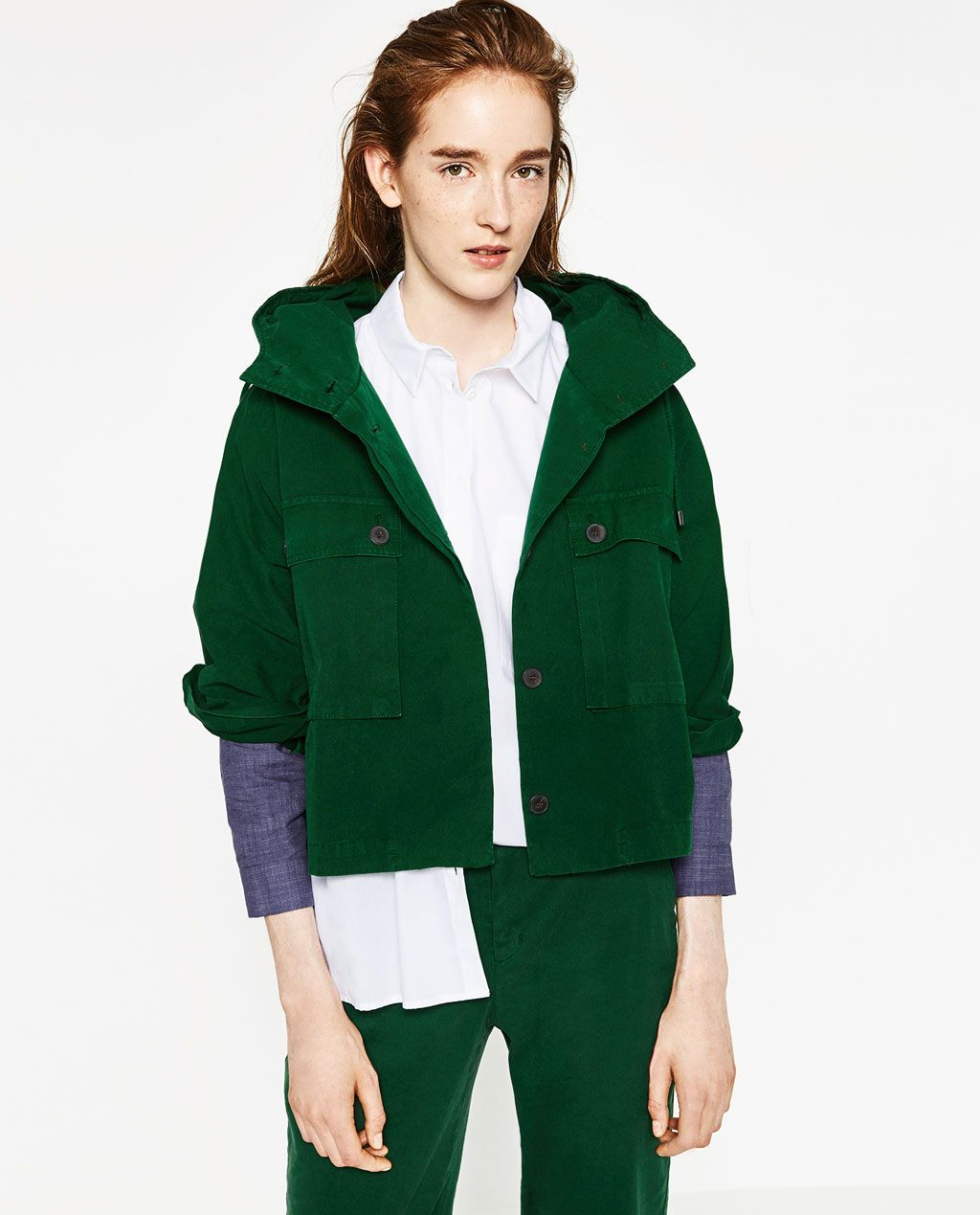 ZARA - WOMAN - SHORT COTTON PARKA | stuff | Pinterest | Zara women ...