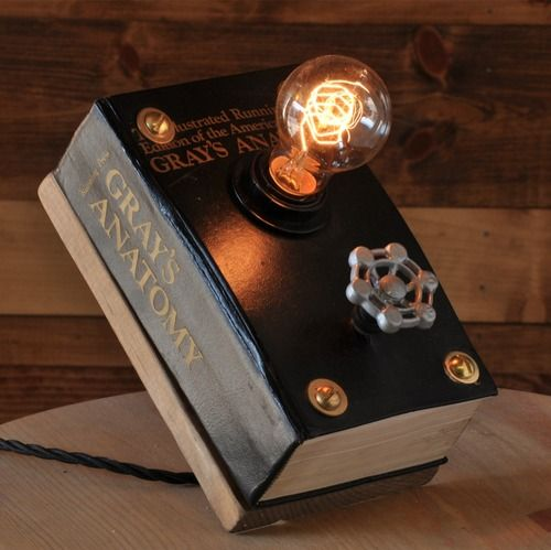 Repurposed book lamps by Moonshine Lamp on Etsy