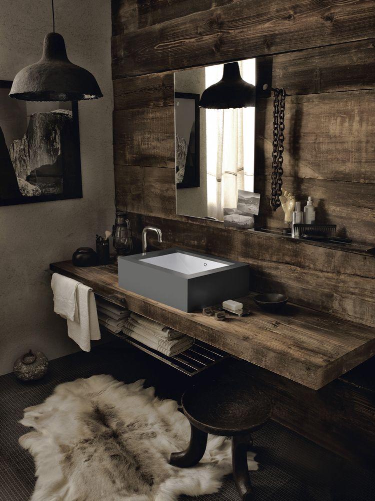 Badezimmer Gestaltungsideen, design handwaschbecken badezimmer modern landhausstil holzwaschtisch, Design ideen