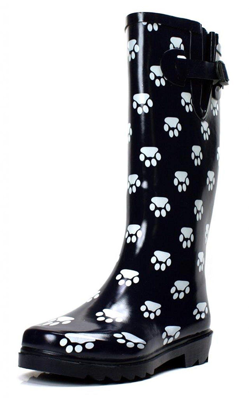 Women's Rubber Puddle Rain Boot Midcalf Waterproof Wellies Flat Black Dot