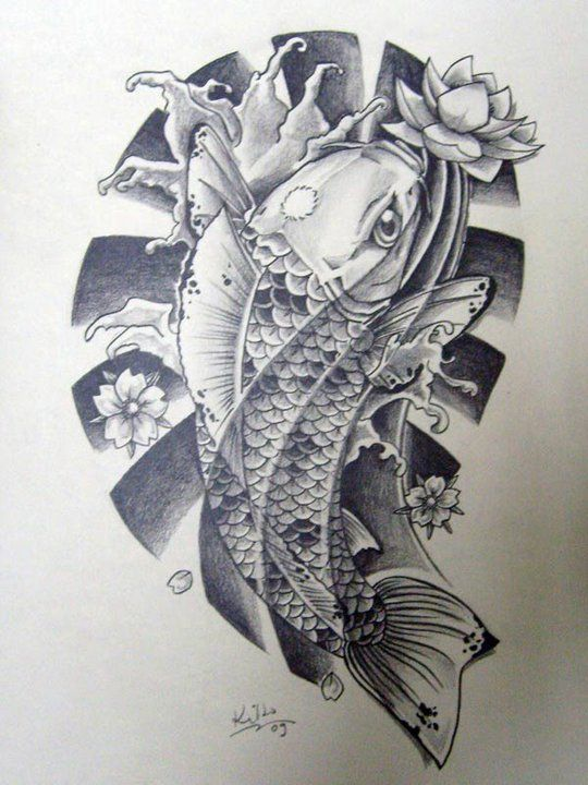 Japanese koi tattoo designs black n 39 white japanese koi for Black white koi