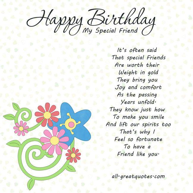 Happy Birthday My Special Friend Cards Pinterest – Happy Birthday Cards for a Special Friend