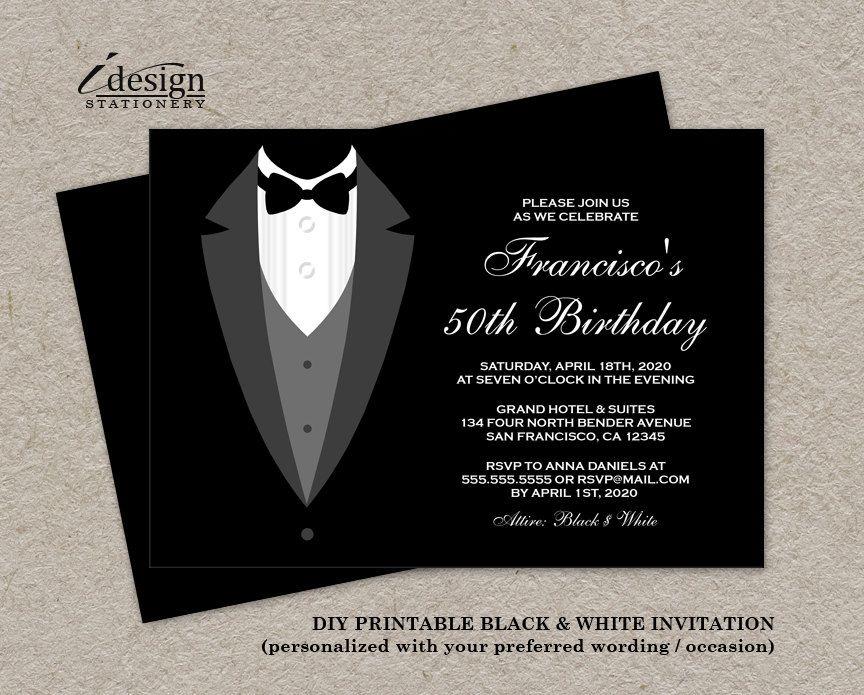 black and white birthday invitation with tuxedo printable all