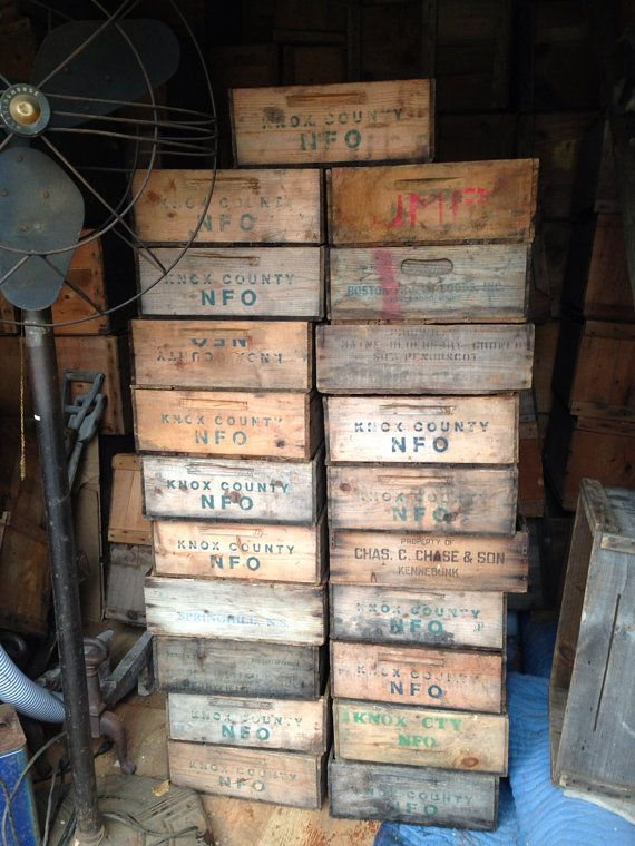 kitchen herbs - These old wooden blueberry boxes are from Camden and  Rockland areas of Maine. Theyre in great condition and measure roughly 16.5  by 15 by 6