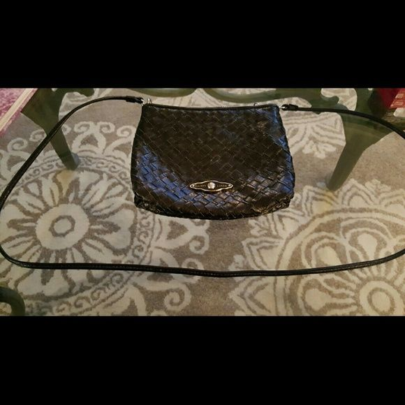 """Elliott Lucca Crossbody Mini Satchel Black weaved leather crossbody bag. Approximately 6 1/2"""" × 8"""", 46"""" strap. Great for on the go. Good used condition. Elliott Lucca Bags Crossbody Bags"""