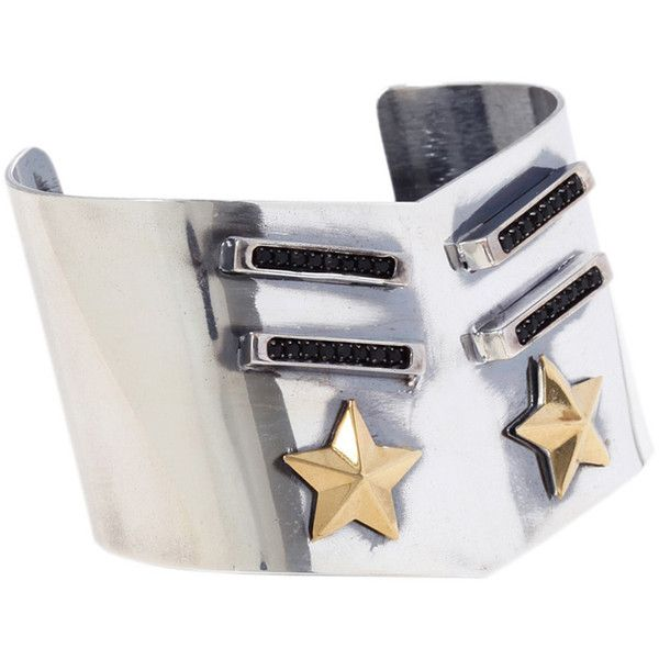 Iosselliani Silver Military Star Cuff ($229) ❤ liked on Polyvore featuring jewelry, bracelets, silver, adjustable bangle, hinged bracelet, silver jewellery, bracelets bangle and silver bracelet bangle