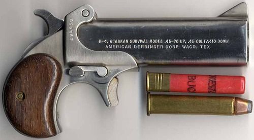 The M4 Alaskan Survival Derringer        Made by American Derringer, this little two shot pistol is marketed as a survival gun able to take down large game and small game simultaneously. The top barrel is chambered for the large .45-70 cartridge, while the bottom barrel is chambered for .410 shotshell/.45 long colt.  The derringer is single action only but has a safety which disengages when the hammer is cocked.  They cost around $600-$700 new. @beardedguy #BuffaloTactical…