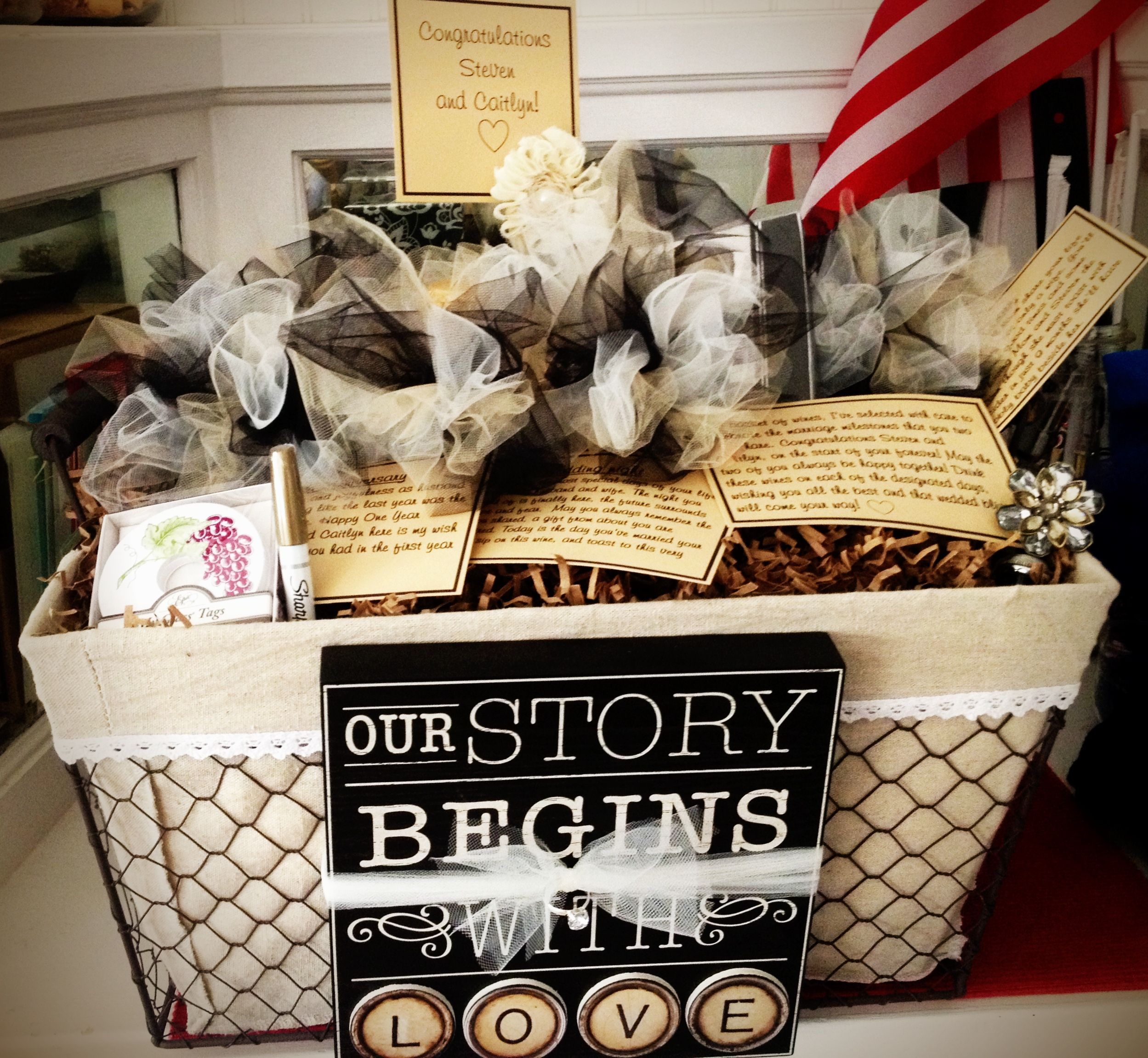 Wine Basket for a year of firsts! Bridal shower gift