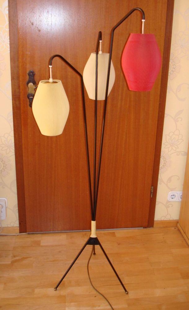 Original 50er 60er Jahre Tütenlampe Lampe Tripod Stehlampe ...