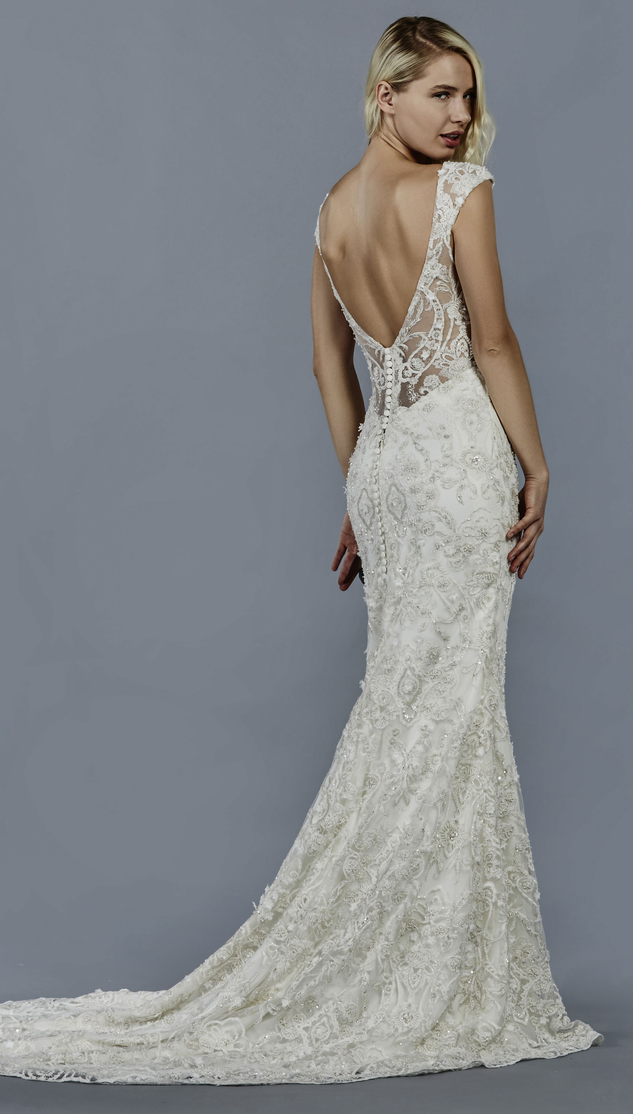 Textured tulle champagne ball gown with beaded embroidered bodice