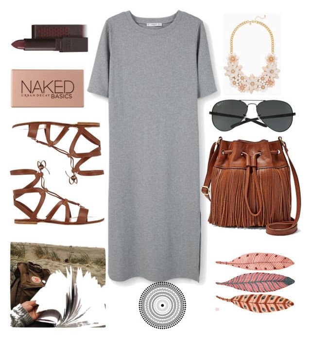"""gray dress"" by plutoeyes on Polyvore featuring MANGO, Gianvito Rossi, FOSSIL, Ray-Ban, Urban Decay and Burt's Bees"