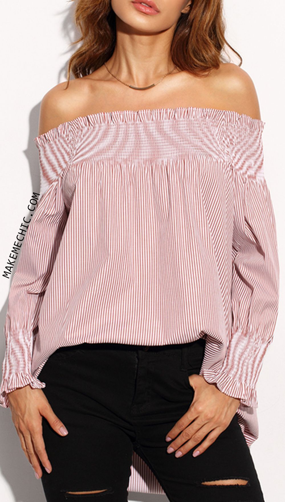 Red stripe off the shoulder long sleeve blouse makemechiccom