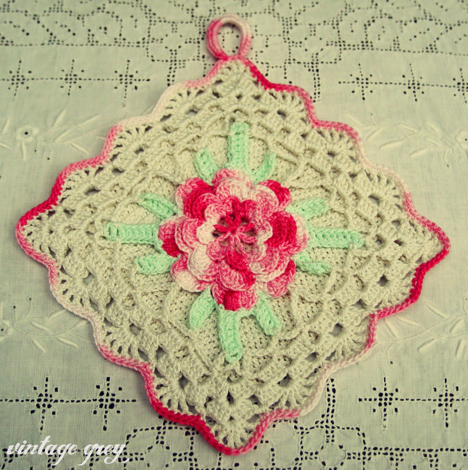 vintage grey-pink rose pot holder. My Grandmother made these back in ...