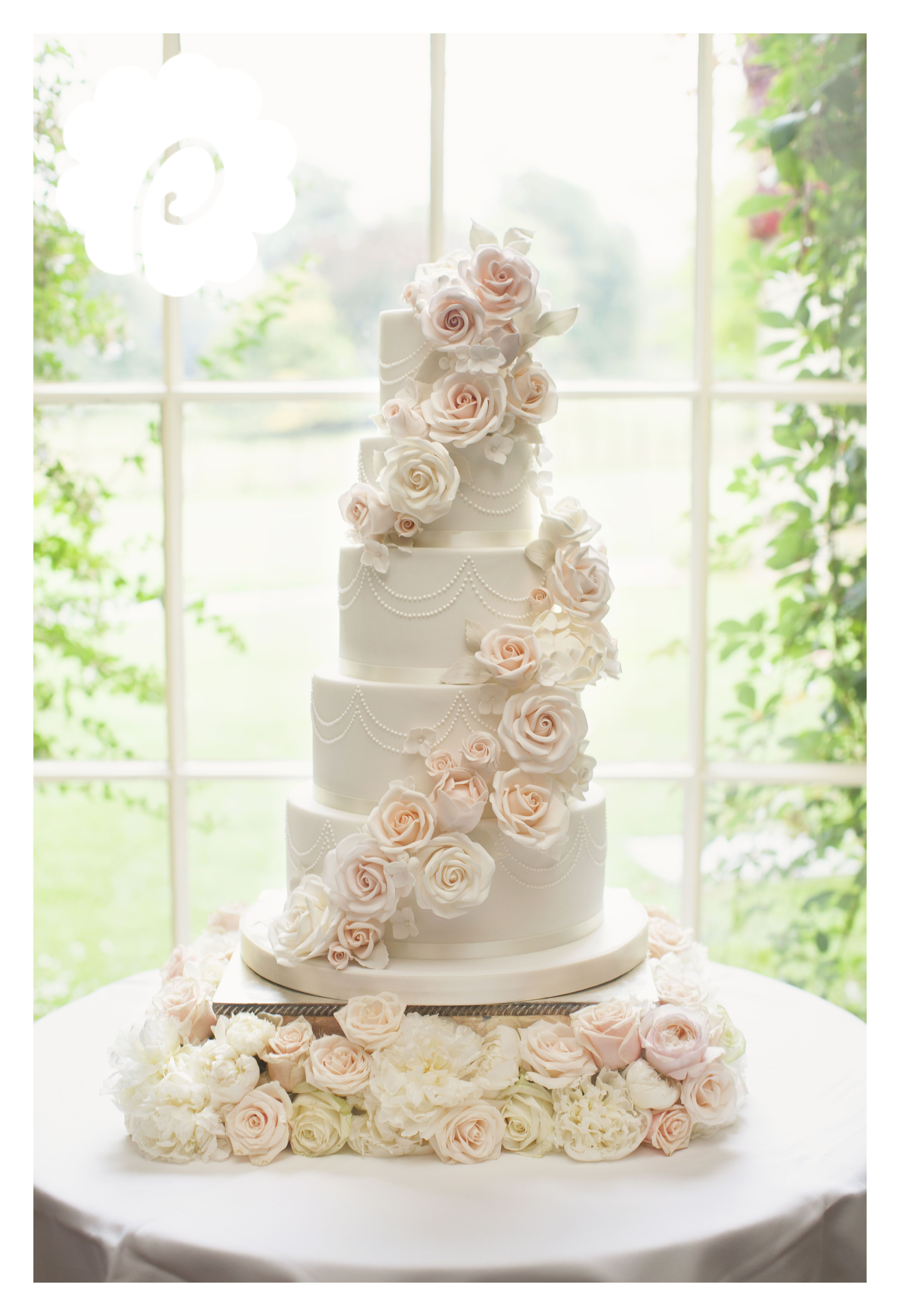 Modern striking sugar rose cascade floral wedding cake (photo credit ...