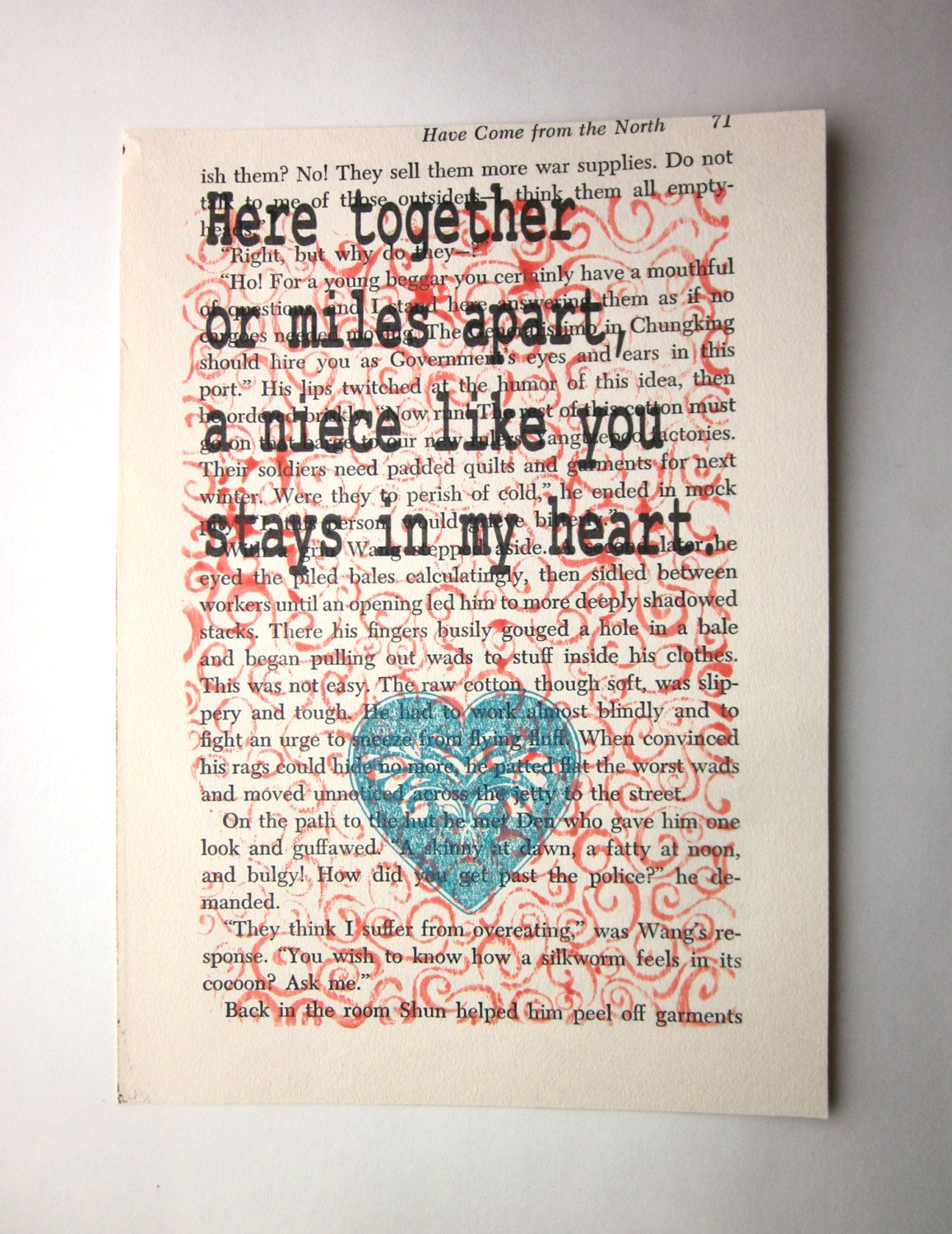 niece quote saying poem print on a book page print