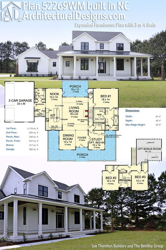 One Story Hip Roof Addition Ideas To Two Story Farmhouse: Plan 52269WM: Expanded Farmhouse Plan With 3 Or 4 Beds
