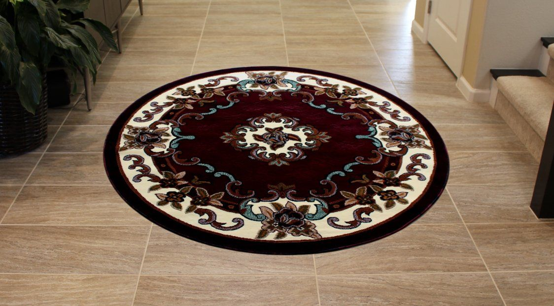 Traditional Classic Round Area Rug Design Kingdom 121 Burgundy 5