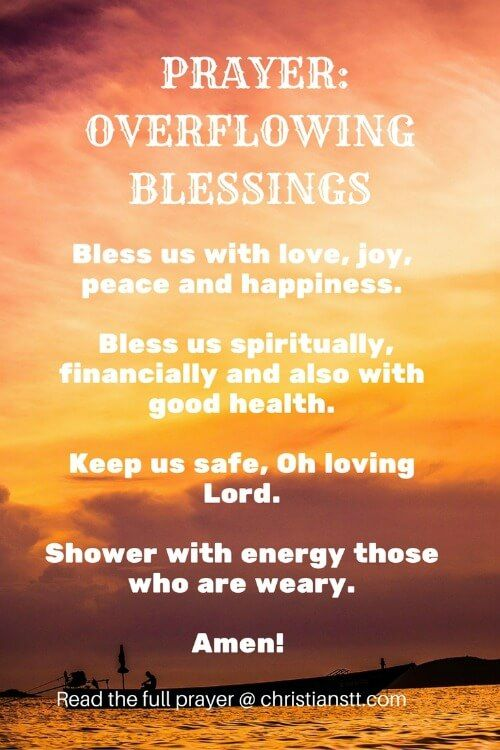 Prayer For Overflowing Blessings Prayers Prayers
