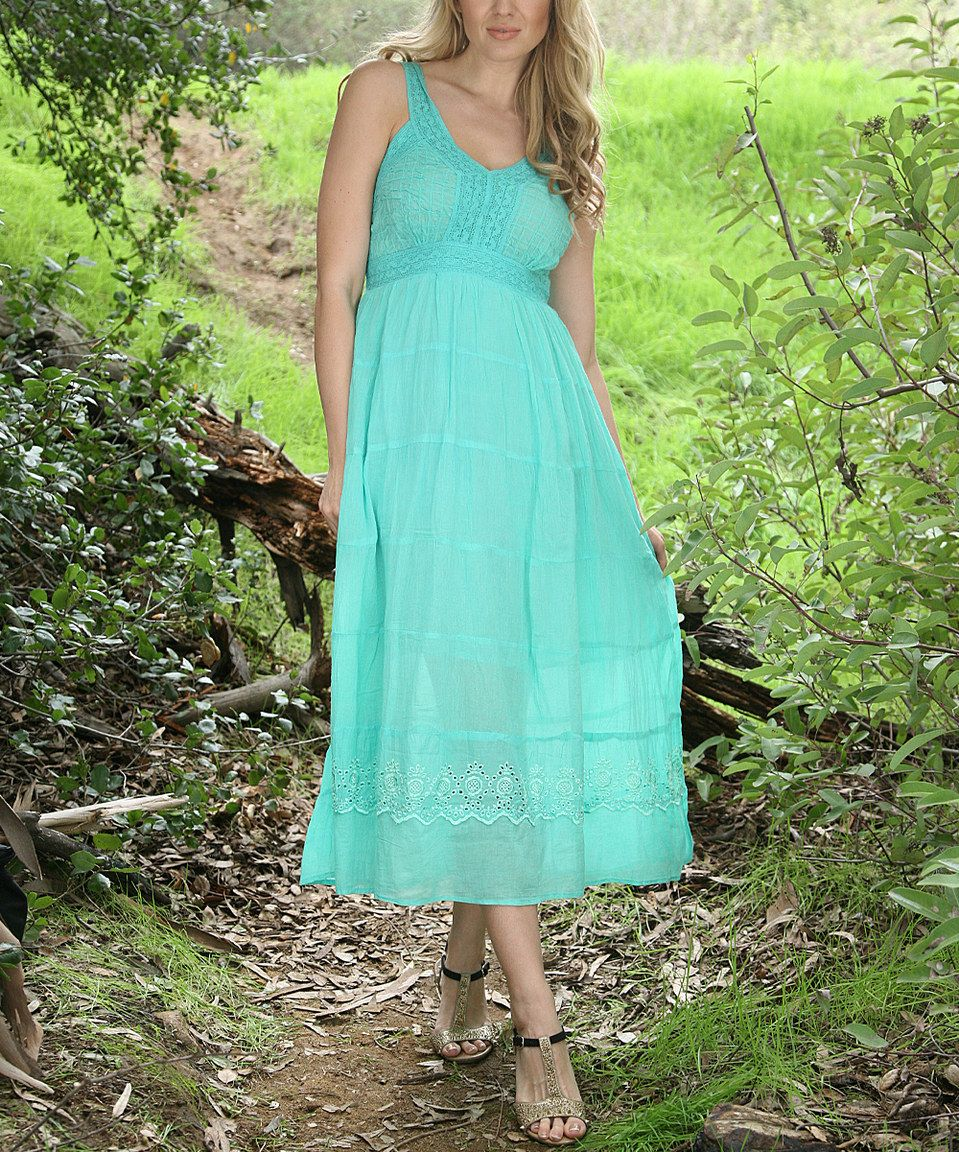 Love this Ananda's Collection Mint Crochet Maxi Dress by Ananda's Collection on #zulily! #zulilyfinds