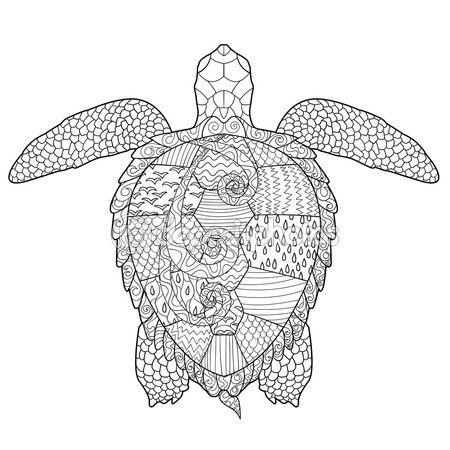 Página de adultos para colorear antiestrés con tortuga. — Vector de ...