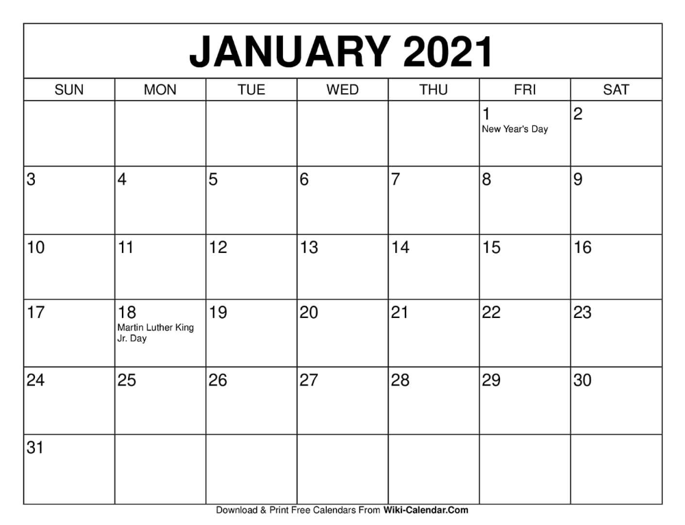 January Monthly Calendar 2021 January 2021 Calendar in 2020 | Calendar printables, 2021 calendar